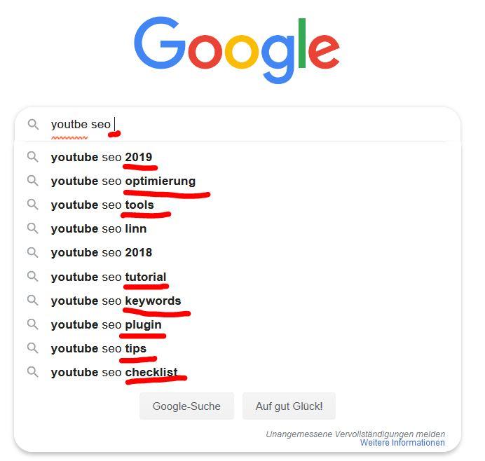 Youtube Keywords Finden auf Google