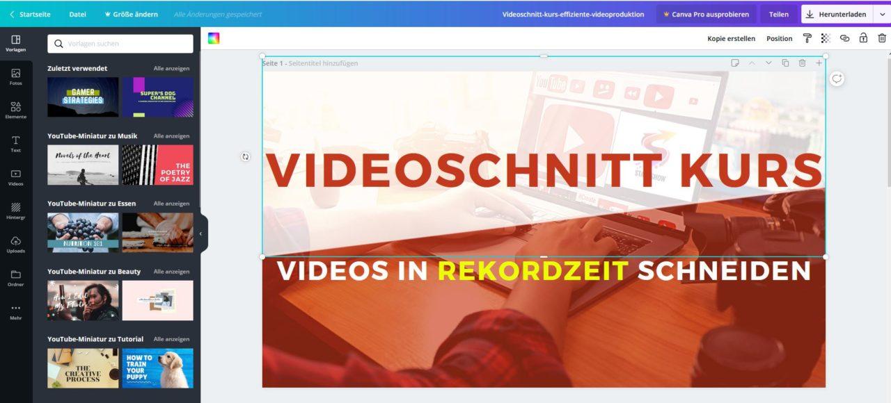 Youtube-Kanalbild erstellen mit Canva