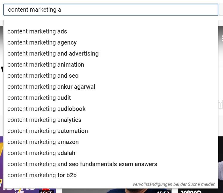 Content Marketing Ideen mit YouTube finden 1