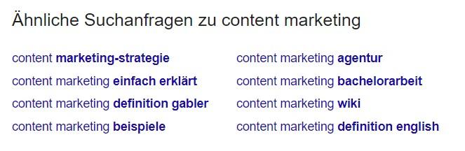 Content Marketing Ideen finden mit Google Suggestions 1