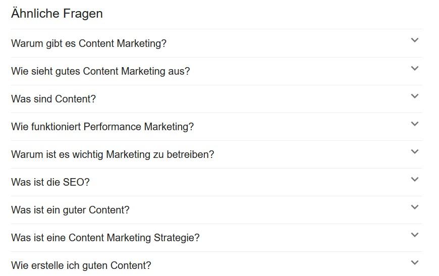 Content Marketing Ideen finden mit Google Fragen 1