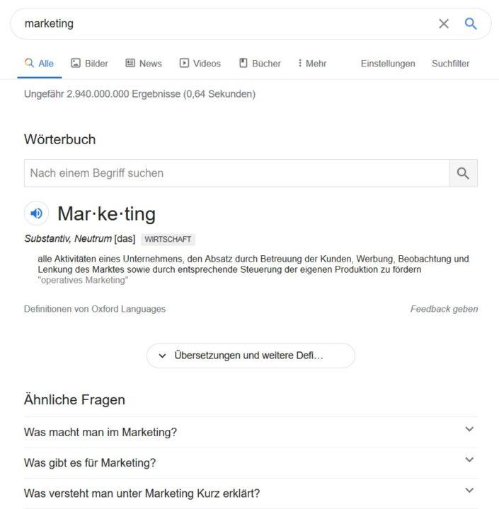 Content Marketing Ideen finden mit Google Fragen 2