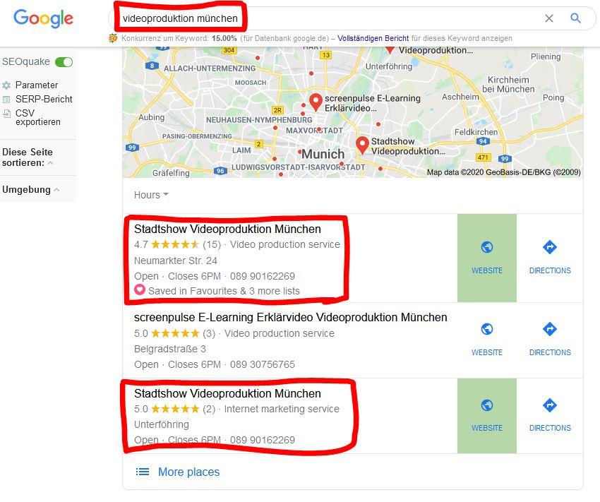 Google Maps Optimierung SEO für Videoproduktion München
