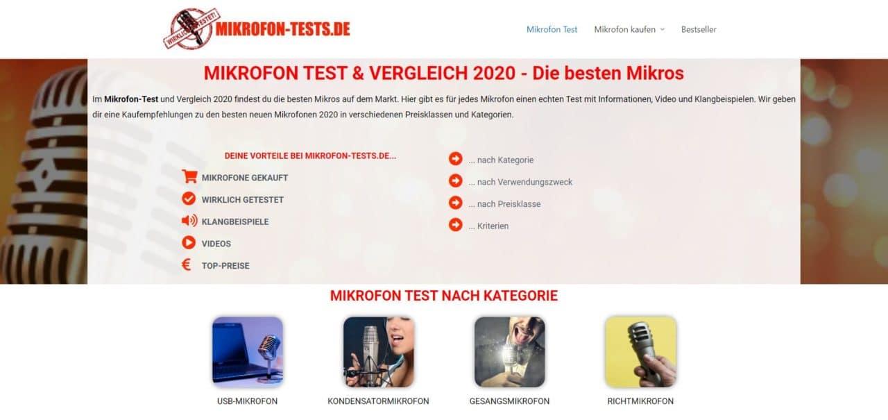 Mikrofon Test - Vergleich auf Webseite