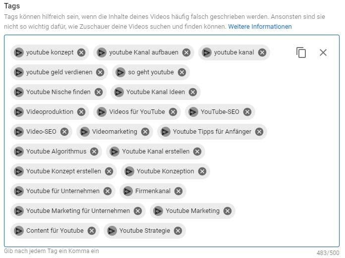 YouTube Tags - Keywords für SEO