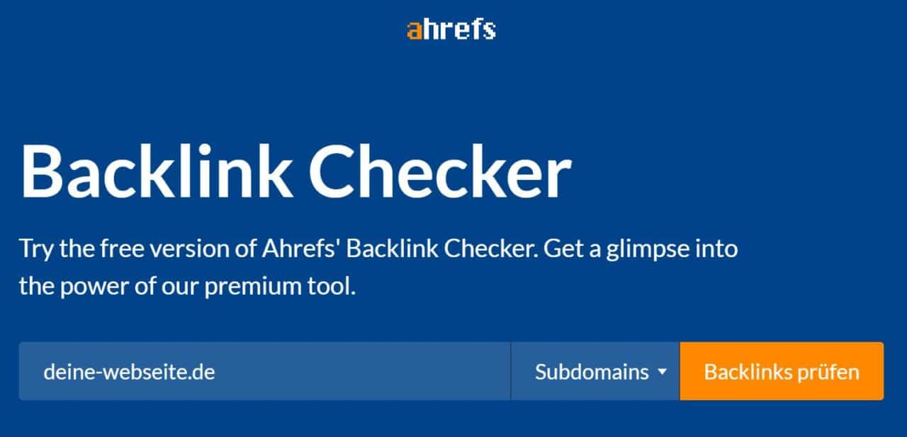 A hrefs Backlink Checker - Kostenloses SEO-Tool