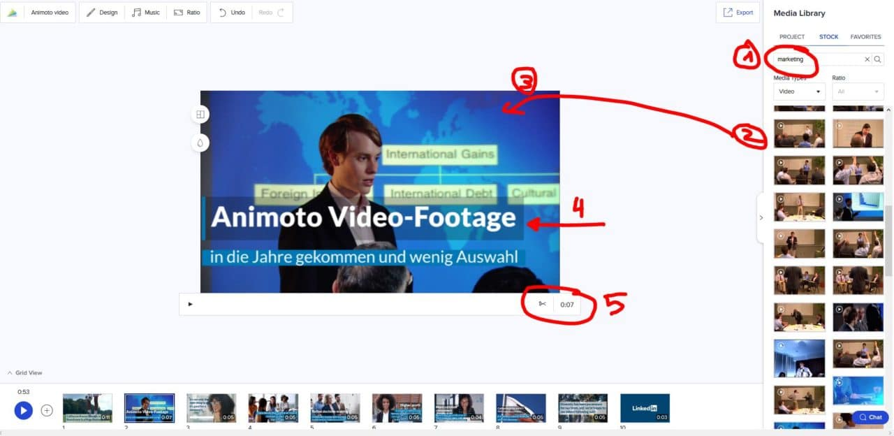 Online-Video-Editor Animoto in Aktion
